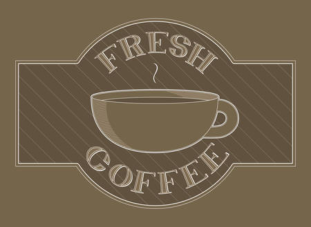 Design displaying the words  fresh coffee  around an illustration of a coffee cup  Çizim