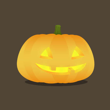 hallow: Illustration of a lit jack o lantern on a dark background