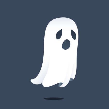 cara triste: Ilustración que muestra una triste fantasma que flota sobre el suelo