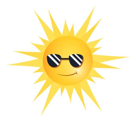 Illustration of a smiling sun wearing sunglasses