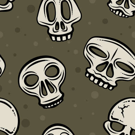 Illustration depicting several skulls buried in dirt  Seamlessly repeatable