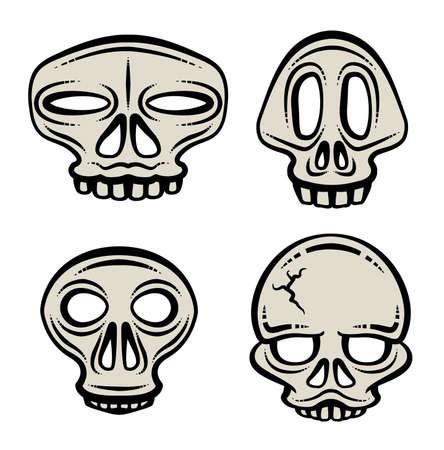 A set of four stylized cartoon skull illustrations