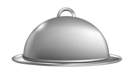 Illustration of a covered metal serving platter