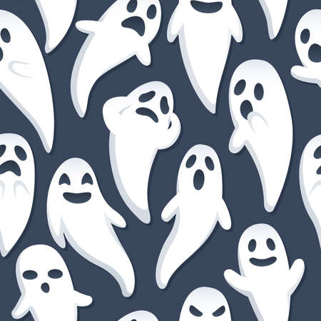 A Halloween themed background depicting ghosts with various expressions and poses  Seamlessly   repeatable  Vectores