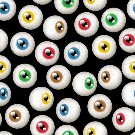 A Halloween themed background depicting different colored eyeballs  Seamlessly repeatable  Çizim