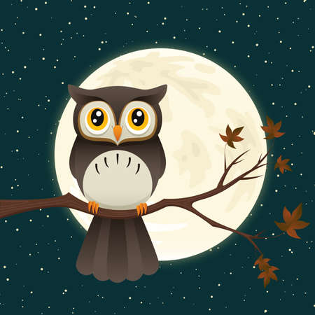 Illustration of a great horned owl on a branch silhouetting the full moon