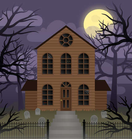 Illustration depicting a scene of a spooky house on a foggy moonlit night