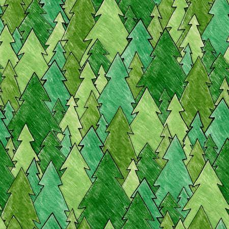 Hand drawn forest Seamlessly repeatable  Foto de archivo