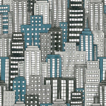 Illustration of a hand drawn cityscape Seamlessly repeatable