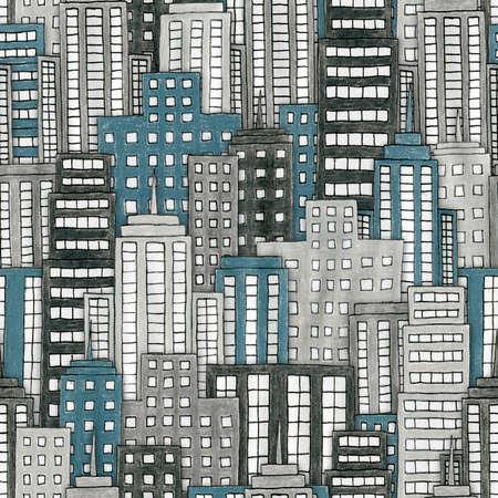Ilustración de un paisaje urbano dibujado a mano inconsútil repetible Foto de archivo - 30743799