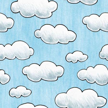 A hand drawn cloudy sky Seamlessly repeatable  Stok Fotoğraf
