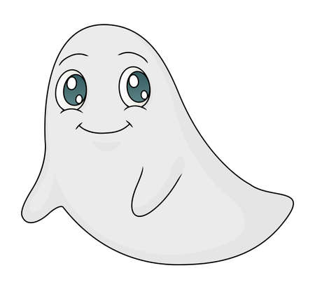 Illustration of a cute ghost smiling and floating benignly