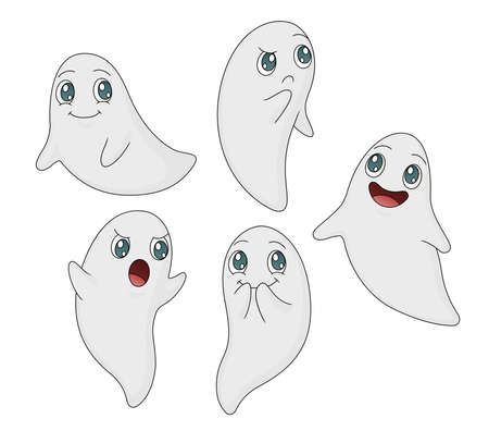 A collection of five cute ghost illustrations in various poses