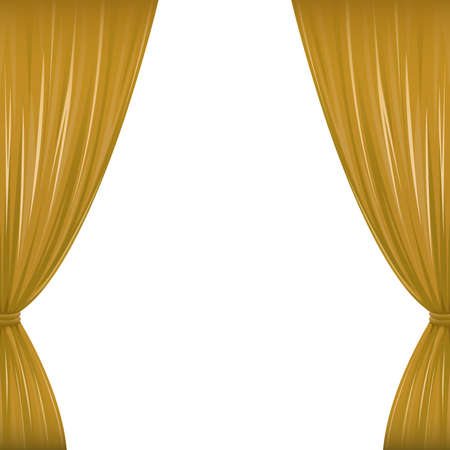 pageant: A pair of brown drapes on white with copy space