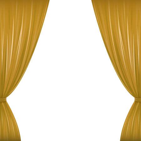 Un par de cortinas marrones en blanco con el espacio de la copia Foto de archivo - 31063214