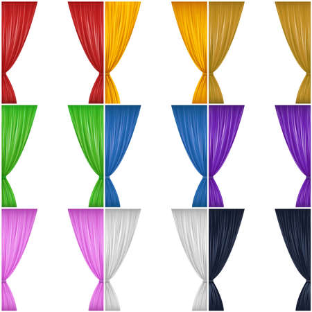 A set of nine different colored drapes  red, yellow, brown, green, blue, pink, black and white