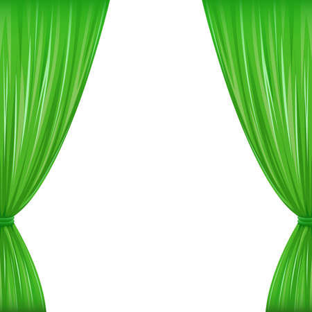 window treatments: A pair of green drapes on white with copy space Illustration