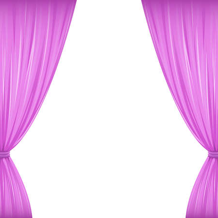 upmarket: A pair of pink drapes on white with copy space