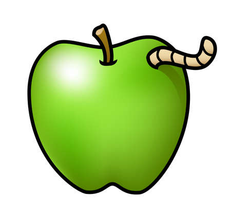 Illustration of a cartoon apple with a worm poking out of it. Çizim