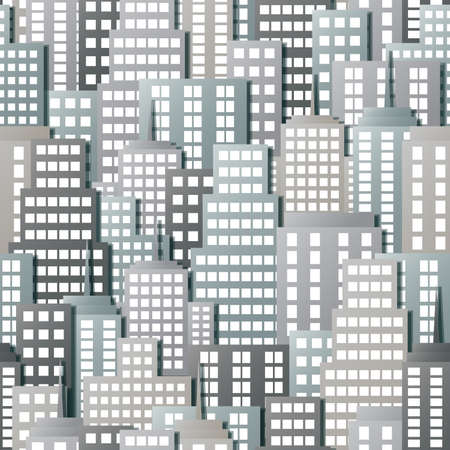 Pattern depicting the tall buildings of a crowded city. Seamlessly Repeatable.
