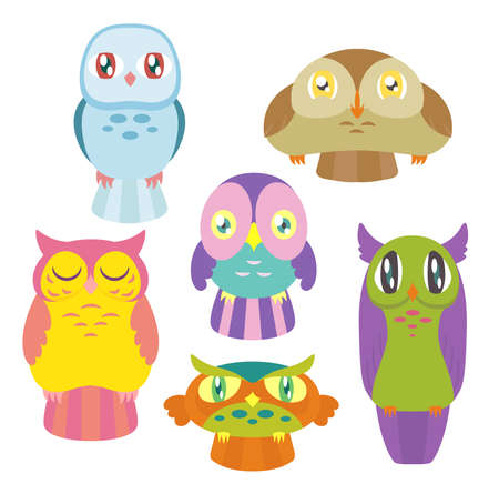 A collection of 6 cute colorful owls of different shapes and sizes. Vectores