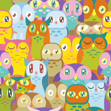 A pattern depicting many colorful owls of different shapes and sizes. Seamlessly Repeatable. Çizim