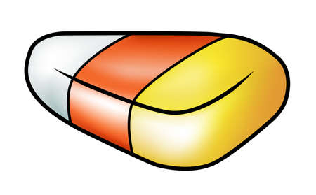 Illustration of a cartoon candy corn isolated on white.