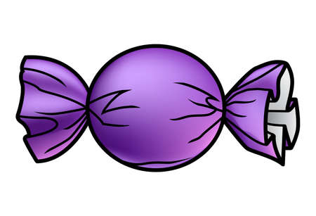 Illustration of a wrapped purple halloween bonbon. Çizim