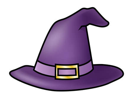 Illustration of a cartoon purple witch hat isolated on white. Vectores