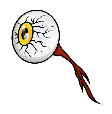 Illustration of a gross cartoon eyeball with the nerve still attached, isolated on white. Stock Illustratie