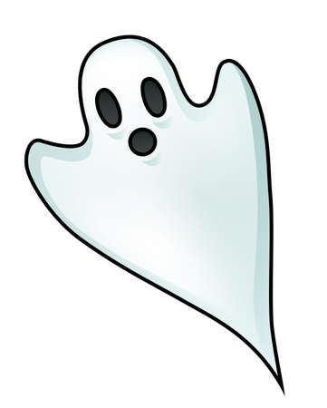 samhain: Illustration of a little ghost isolated on white.