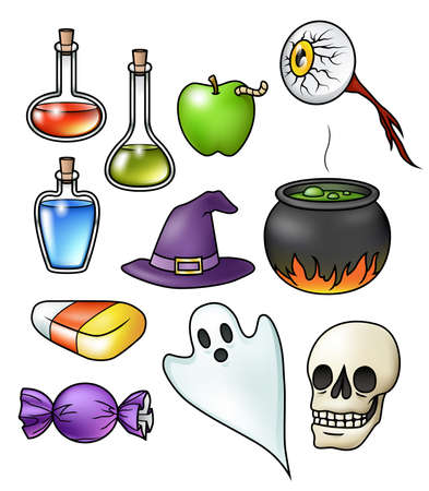 Collection of eleven halloween illustrations, isolated on white.