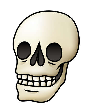 Illustration of a cartoon skull isolated on white.