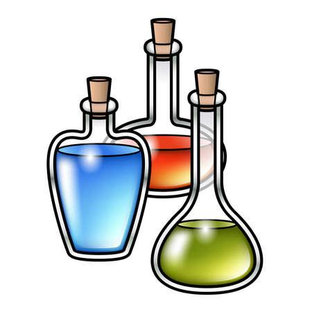 elixir: Ilustración de tres botellas de pociones de dibujos animados con diferentes líquidos de colores en el interior. Vectores