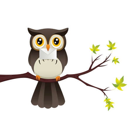 Illustration of a cute owl perched on a branch while holding a letter. 일러스트