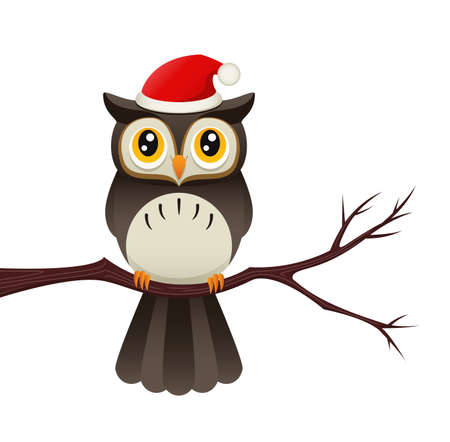 Illustration of an owl on a branch wearing a santa hat.
