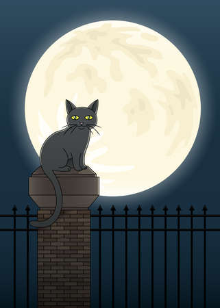 Illustration of a black cat perched atop a fence silhouetted against a full moon. Illustration