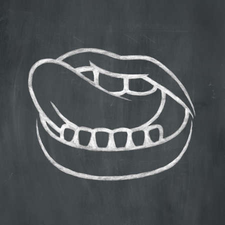 Hand-drawn illustration of a mouth licking its lips in white chalk on a blackboard background. Stok Fotoğraf