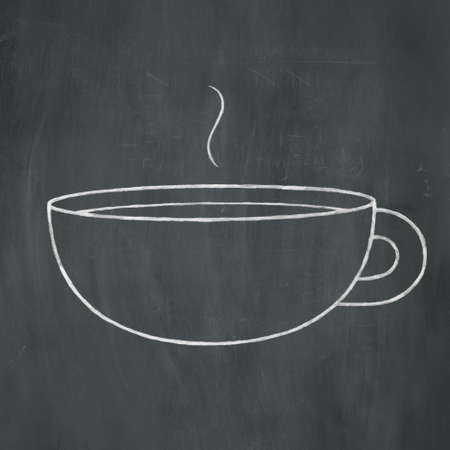 Hand-drawn illustration of a steaming coffee mug in white chalk on a blackboard background.
