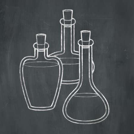 Hand-drawn illustration of three corked bottles in white chalk on a blackboard background.