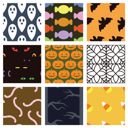 A collection of 9 simple Halloween backgrounds. Seamlessly repeatable. Çizim