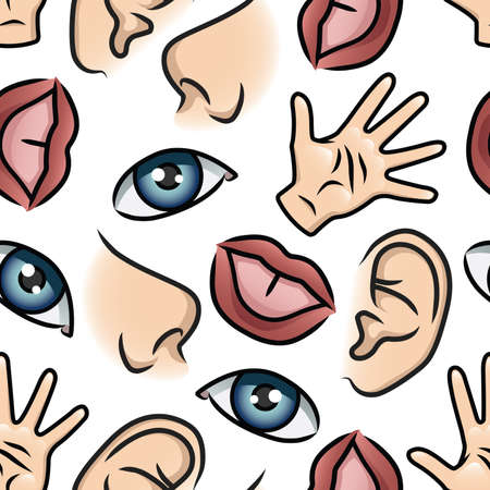 Pattern depicting illustrations of the five senses.  Vector