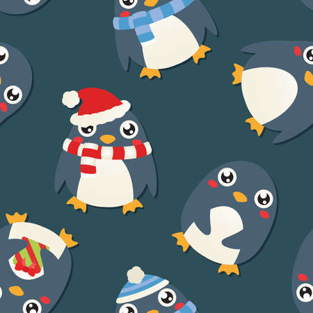 A background depicting several cute cartoon penguins wearing different outfits. Vectores