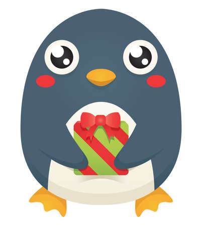 Illustration of a cute cartoon penguin holding a wrapped   christmas gift.