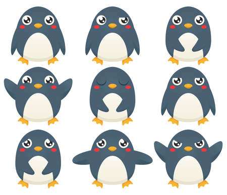 A collection of nine cartoon penguin characters expression   different emotions.