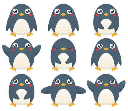 pinguino caricatura: Una colección de nueve personajes de dibujos animados de pingüinos de expresión diferentes emociones.