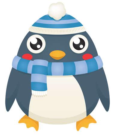x stand: Ilustraci�n de un ping�ino lindo de la historieta que lleva una bufanda de invierno azul y sombrero. Vectores