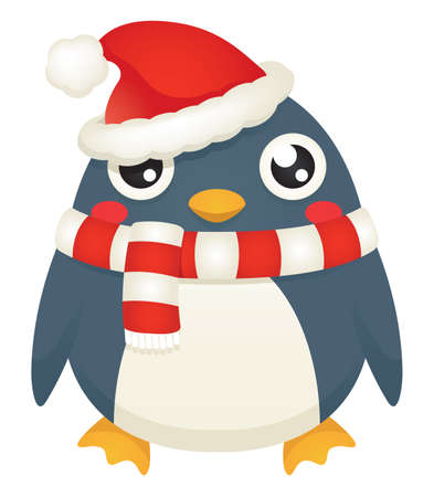 Illustration of a cute cartoon penguin wearing a santa hat and   candy striped scarf.