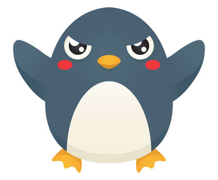 Illustration of a cute cartoon penguin with an angry expression.