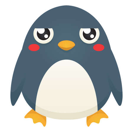 Illustration of a cute cartoon penguin with an unimpressed   expression. Çizim